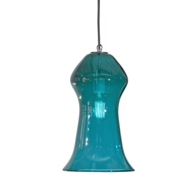 Vesuvius Gama 1-Light Pendant Finish: Nickel with Silver Nylon Wire, Shade Color: Lagoona