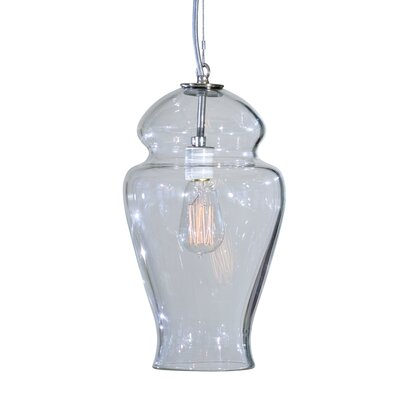Vesuvius Gala 1-Light Pendant Finish: Nickel with Silver Nylon Wire, Shade Color: C-Thru