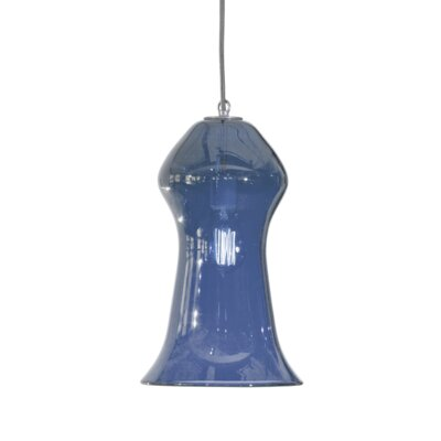 Vesuvius Gama 1-Light Pendant Shade Color: Steel Blue, Finish: Nickel with Silver Nylon Wire
