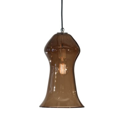 Vesuvius Gama 1-Light Pendant Finish: Nickel with Silver Nylon Wire, Shade Color: Tea