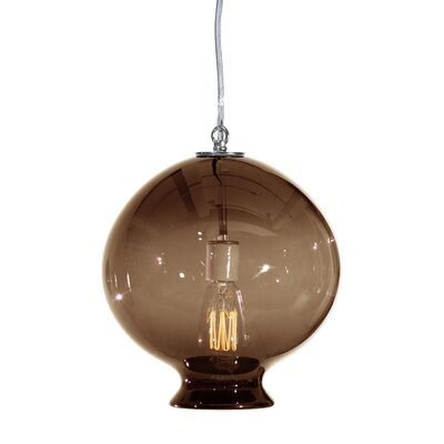Vesuvius Juno 1-Light Pendant Finish: Nickel with Silver Nylon Wire, Shade Color: Tea