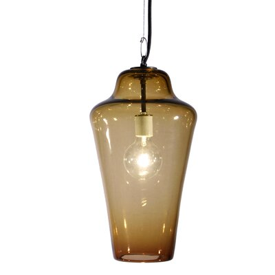 Vesuvius Lavra 1-Light Pendant Finish: Nickel with Silver Nylon Wire, Shade Color: Amber
