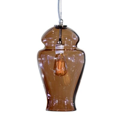 Vesuvius Gala 1-Light Pendant Finish: Nickel with Silver Nylon Wire, Shade Color: Tea