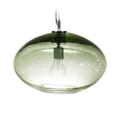 Fizz Orbit 1-Light Globe Pendant Shade Color: Emerald, Finish: Nickel with Silver Nylon Wire