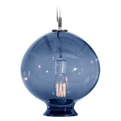 Vesuvius Juno 1-Light Pendant Shade Color: Steel Blue, Finish: Nickel with Silver Nylon Wire