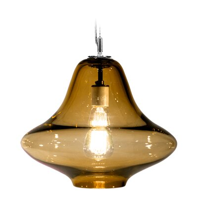 Vesuvius Venus 1-Light Pendant Finish: Nickel with Silver Nylon Wire, Shade Color: Amber