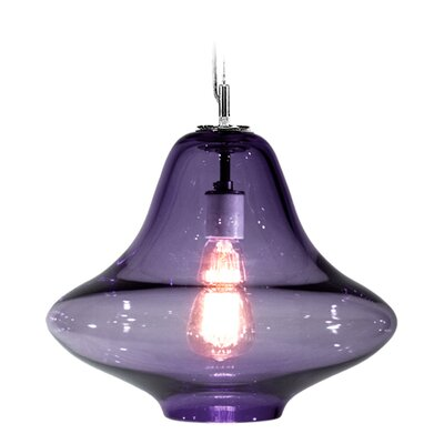 Vesuvius Venus 1-Light Pendant Finish: Nickel with Silver Nylon Wire, Shade Color: Blue Lilac