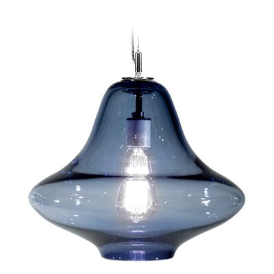 Vesuvius Venus 1-Light Pendant Finish: Nickel with Silver Nylon Wire, Shade Color: Steel Blue