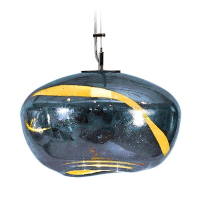 Vista Swirl Galaxy 1-Light Pendant Finish: Nickel with Silver Nylon Wire, Shade Color: Steel Blue