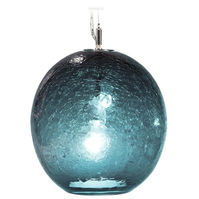 Boa Solaris 1-Light Globe Pendant Shade Color: Teal, Finish: Nickel with Silver Nylon Wire