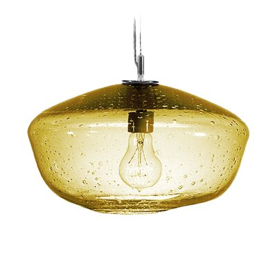 Fizz Galaxy 1-Light Pendant Finish: Nickel with Silver Nylon Wire, Shade Color: Amber