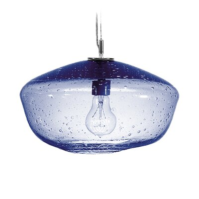 Fizz Galaxy 1-Light Pendant Finish: Nickel with Silver Nylon Wire, Shade Color: Steel Blue