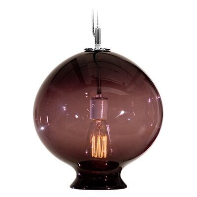 Vesuvius Juno 1-Light Pendant Finish: Nickel with Silver Nylon Wire, Shade Color: Amethyst