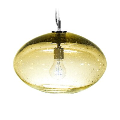 Fizz Orbit 1-Light Globe Pendant Finish: Nickel with Silver Nylon Wire, Shade Color: Amber