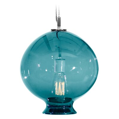 Vesuvius Juno 1-Light Pendant Finish: Nickel with Silver Nylon Wire, Shade Color: Lagoona