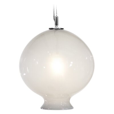 Vesuvius Juno 1-Light Pendant Shade Color: Opal, Finish: Nickel with Silver Nylon Wire