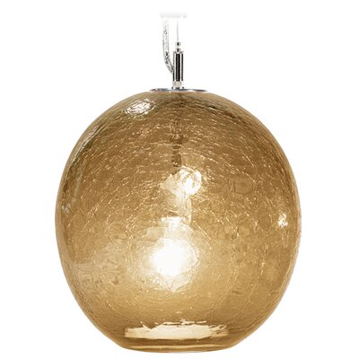 Boa Solaris 1-Light Globe Pendant Finish: Nickel with Silver Nylon Wire, Shade Color: Amber