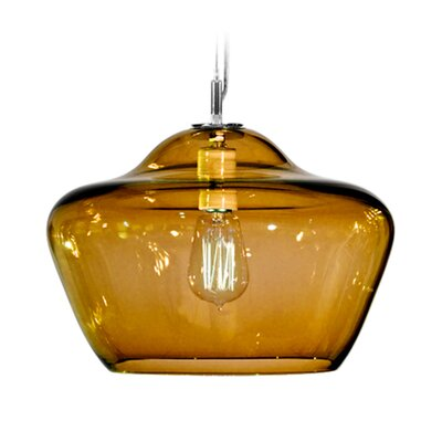 Vesuvius Aura 1-Light Pendant Shade Color: Amber, Finish: Nickel with Silver Nylon Wire
