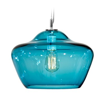 Vesuvius Aura 1-Light Pendant Finish: Nickel with Silver Nylon Wire, Shade Color: Lagoona