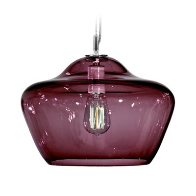 Vesuvius Aura 1-Light Pendant Finish: Nickel with Silver Nylon Wire, Shade Color: Lilac