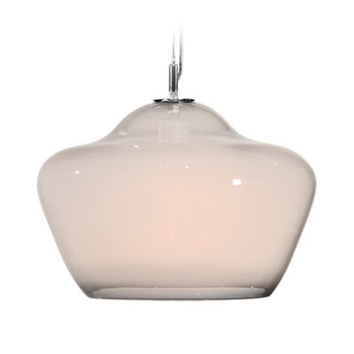 Vesuvius Aura 1-Light Pendant Shade Color: Opal, Finish: Nickel with Silver Nylon Wire