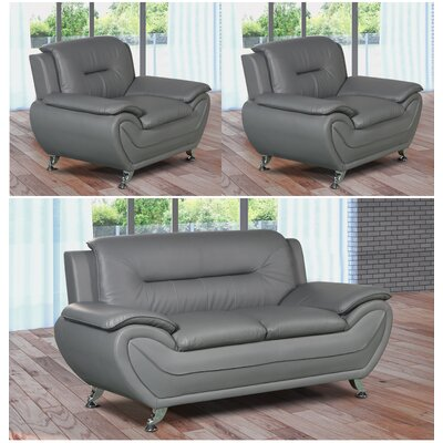 Lester 3 Piece Living Room Set Upholstery: Gray