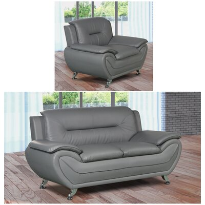 Lester 2 Piece Living Room Set Upholstery: Gray