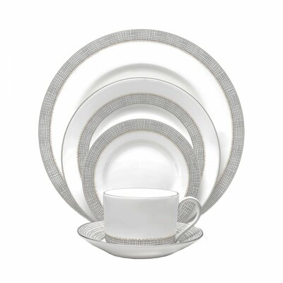 Gilded Weave Bone China 5 Piece Place Setting, Service for 1 091574216959