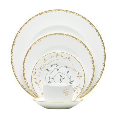 Gilded Leaf Bone China 5 Piece Place Setting, Service for 1 091574095387