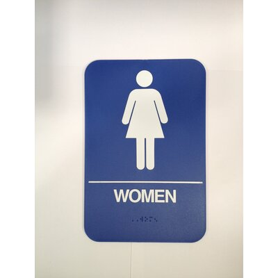Womens Restroom Sign Color: Blue