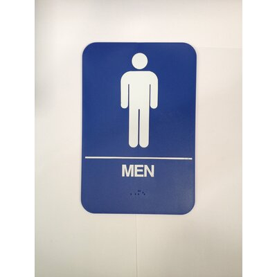 Mens Restroom Sign Color: Blue