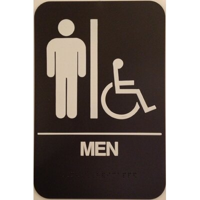 Mens Handicap Restroom Sign Color: Brown