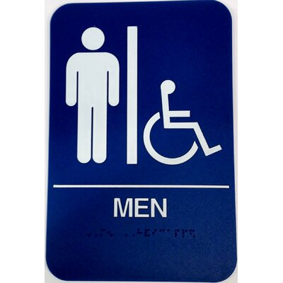 Mens Handicap Restroom Sign Color: Blue