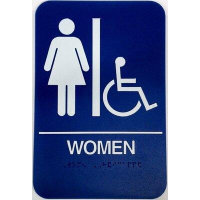 Womens Handicap Restroom Sign Color: Blue