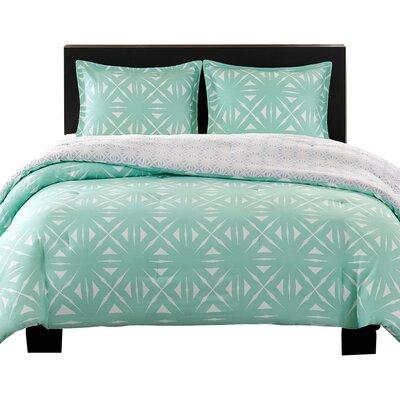 Lattice Comforter Set Size: Twin, Color: Aqua