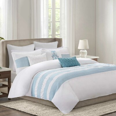 Crete Reversible Duvet Cover Set Size: Twin, Color: Teal