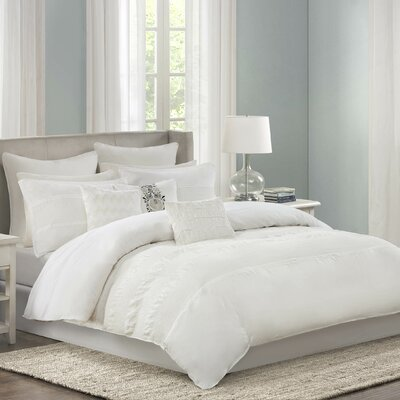 Crete Reversible Duvet Cover Set Size: King, Color: White