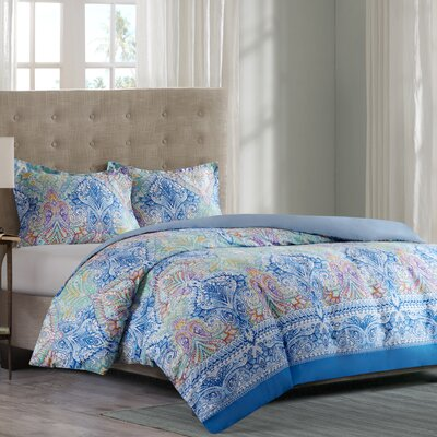 Paisley Cotton Duvet Cover Set Size: Full/Queen