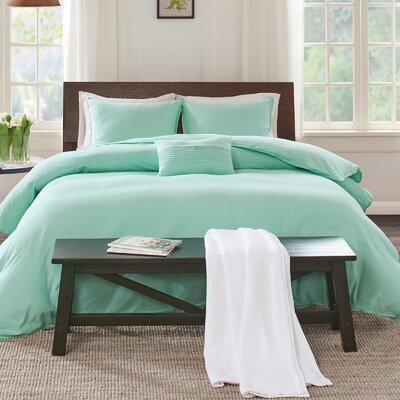 Montauk Duvet Cover Set Size: Full/Queen, Color: Aqua