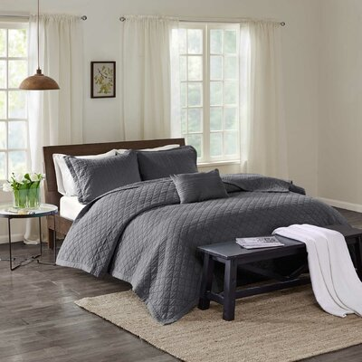 Montauk 3 Piece Quilt Set Size: King, Color: Gray