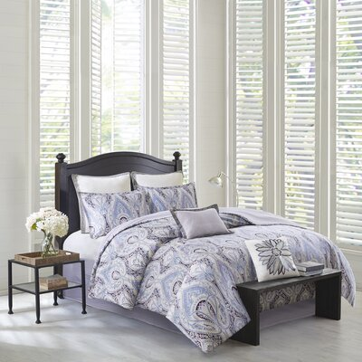Ivy Paisley 100% Cotton 4 Piece Reversible Comforter Set Size: King