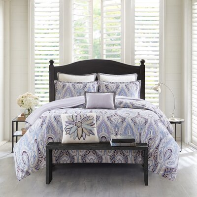 Ivy Paisley 100% Cotton 3 Piece Reversible Duvet Cover Set Size: King/California King