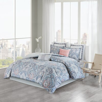 Avalon Cotton Sateen Reversible Comforter Set Size: Twin
