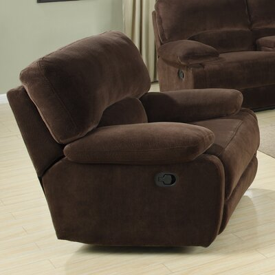 Walcott Recliner Upholstery: Dark Brown, Type: Manual Recline