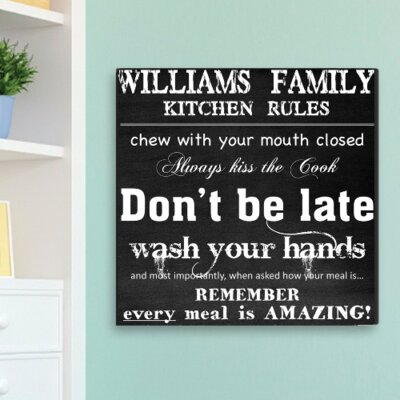Personalized Gift Family Kitchen Rules Textual Art on Canvas