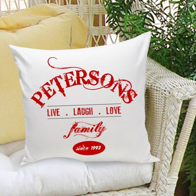 Personalized Gift Family Cotton Throw Pillow Color: Red