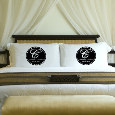 Personalized Gift Couples Magical Monogram Pillowcase Color: Midnight Black