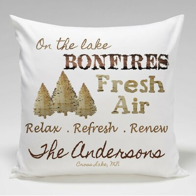 Personalized Cabin Bonfire Throw Pillow