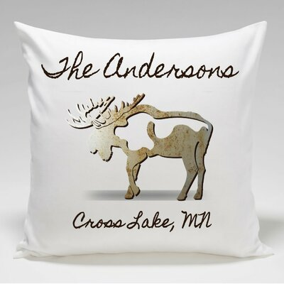 Personalized Cabin Moose Throw Pillow