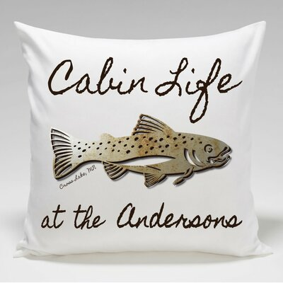 Personalized Cabin Trout Throw Pillow